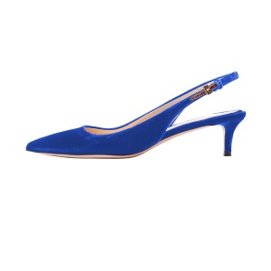Royal Blue Heels Velvet Slingback Pumps Pointy Toe Kitten Heels Shoes