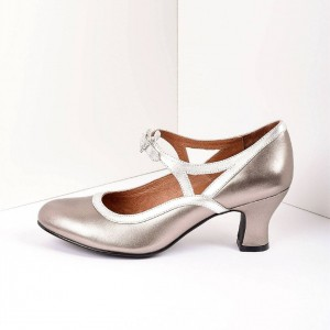 Champange Royal Vintage Metallic Mary Jane Heels Chunky Heel Pumps