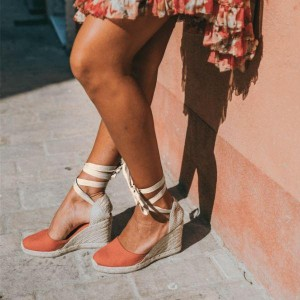 Salmon Espadrille Wedges Platform Strappy Ankle Strap Sandals
