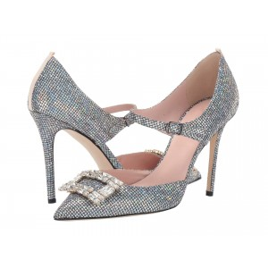 Silver Rhinestone Mary Jane Stiletto Heels Pumps
