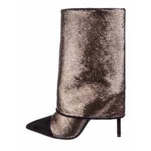 Dark Brown Sequined Pointed Toe Stiletto Boots Fashion Mid Calf Boots