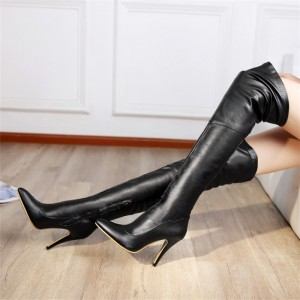 Sexy Black Fashion Boots Pointy Toe Stiletto Over-the-Knee Boots