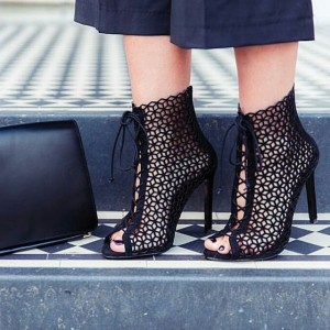 Black Laser cut Lace up Heels Peep Toe Hollow out Stiletto Heels