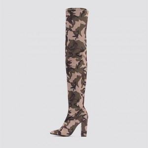 Sexy Camo Over-the-knee Boots Chunky Heel Boots