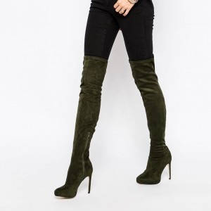 Sexy Deep Green Stiletto Heels Boots Pointy Toe Over-the-Knee Boots