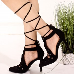Black Strappy Heels Lace Up Pointy Toe Stiletto Heel Pumps