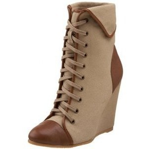 Women's Khaki Lace-up Wedge Heel Ankle Boots-Vintage Shoes