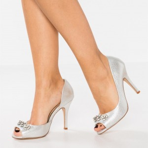 Silver 4 inch Heels Wedding Shoes Rhinestone Peep Toe Stiletto Heels