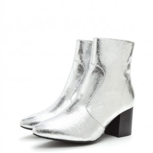 Silver Almond Toe Block Heel Ankle Booties