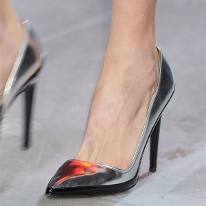 Silver and Black Patent Leather Stiletto Heels Pumps