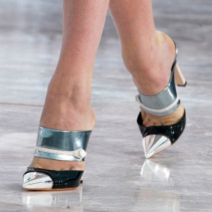 Silver and Black Pointy Toe Mule Chunky Heel Sandals for Women