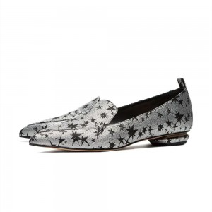 Silver and Black Star Printed Pointy Toe Flats