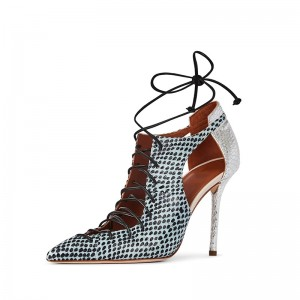 Silver and Cyan Python Lace Up Stiletto Heels Pumps