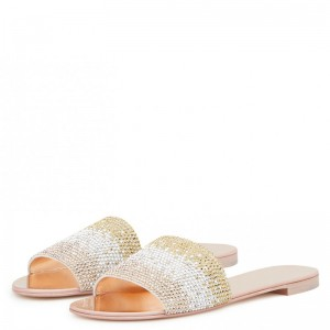Silver and Gold Rhinestones Women's Slide Sandals