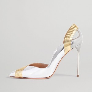 Silver and Gold Stiletto Heels Pointed Toe Pumps
