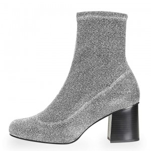 Silver Sock Boots Block Heel Fashion Ankle Boots US Size 3-15