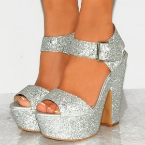 Silver Ankle Strap Chunky Heel Sandals Peep Toe Slingback Sandals