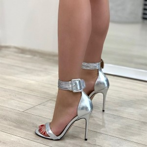 Silver Ankle Strap Heels Buckle Stiletto Heel Sandals