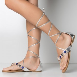 Silver Beach Gladiator Sandals Strappy Flat Rhinestone Sandals