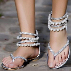 Silver Wedding Flats Beaded Flip Flops Comfortable Sandals