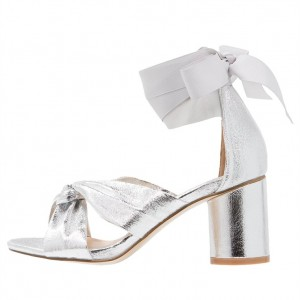Silver Bow Chunky Heel Ankle Strap Sandals With Strappy Stripe