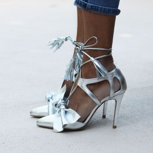 Silver Lace up Sandals Pointy Toe Bow and Tassels Stiletto Heels Shoes