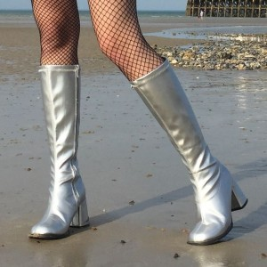 Silver Chunky Heel Boots Square Toe Knee-high Long Boots