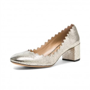 Silver Chunky Heels Glitter Curves Round Toe Pumps for Female
