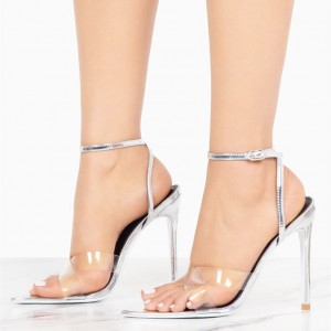 Silver Ankle Strap Sandals Clear Shoes High Heel Slingback Sandals