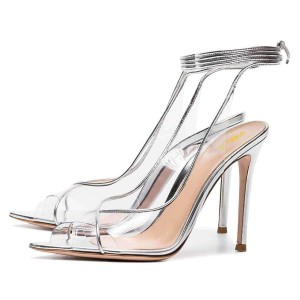 Silver Clear Heels Ankle Strap Stiletto Heel Sandals