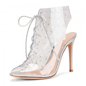 Silver Clear PVC Lace Up Boots Stiletto Heel Ankle Boots