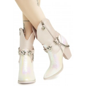 Holographic Cowgirl Boots Chunky Heel Mid Calf Boots with Chains