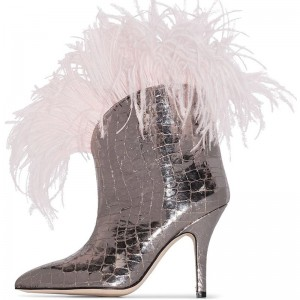 Silver Croc Print Fashion Boots Feather Stiletto Heel Ankle Boots