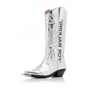 Silver Embroider Letters Cowgirl Boots Block Heel Mid Calf Boots