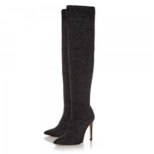 Silver Fabric Stiletto Heels Long Boots Fashion Knee High Boots