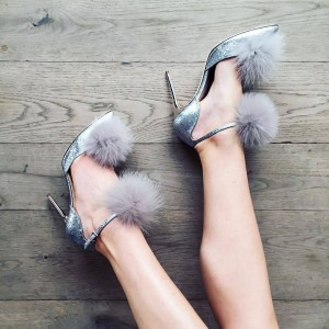 Silver Fur Heels Stiletto Heels Pointy Toe Ankle Strap Pumps