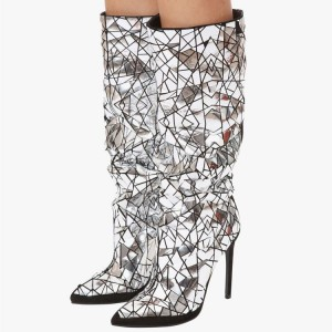 Silver Geometry Slouch Boots Knee-High-Boots Stiletto High heels Boots