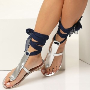 Silver Gladiator Sandals Beach Flip Flops Navy Scarves Strappy Sandals