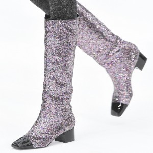 Silver Glitter Boots Square Toe Chunky Heel Knee High Boots