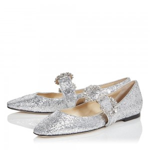 Silver Glitter Buckle Comfortable Flats
