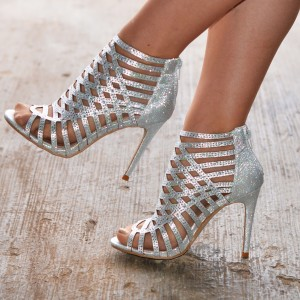 Silver Glitter Caged Sexy Stiletto Heel Sandals Hollow out Summer Boot