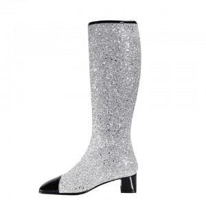 Silver Glitter long Boots Round Toe Chunky Heels Mid Calf Boots