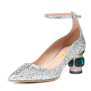 Silver Glitter Shoes Ankle Strap Chunky Heel Pumps