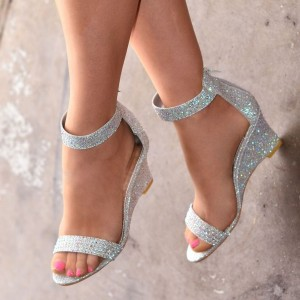 Silver Glitter Shoes Ankle Strap Wedge Heels Sandals
