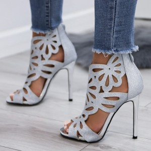 Silver Hollow-out Glitter Peep Toe Stiletto Heel Ankle Summer Boots