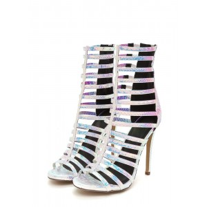 Silver Hologram Strappy Gladiator Heel Stiletto Heel Sandals