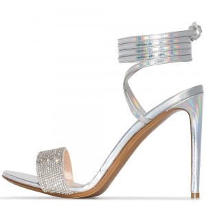 Silver Hologram Strappy Heels Stiletto Heel Sandals