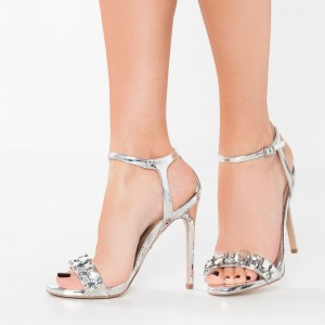 Sliver Jeweled Sandals Open Toe Stiletto Heels Ankle Strap Sandals
