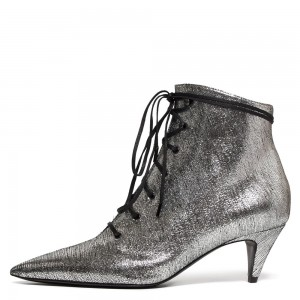 Silver Lace Up Boots Low Heel Ankle Boots