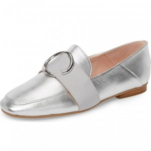 Silver Loafers for Women Round Toe Comfortable Flats